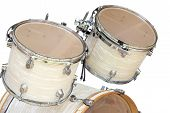 picture of drum-set  - Tom1 and Tom2 on Base Drum Set Isolated on White Background - JPG
