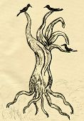 picture of dead-line  - Grunge sketch of a stylized dead tree hand drawn illustration - JPG