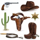 stock photo of guns  - Cowboy Icons - JPG
