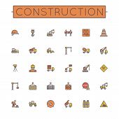 pic of lorries  - Thirty colored construction line icons - JPG