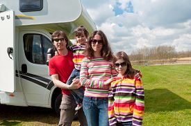 pic of camper  - Family vacation, RV (camper) travel with kids, happy parents with children on holiday trip in motorhome ** Note: Visible grain at 100%, best at smaller sizes - JPG