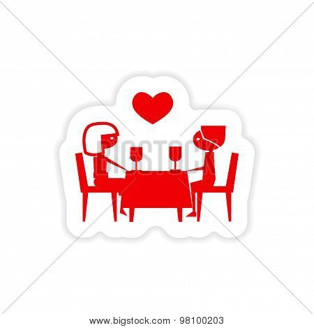icon sticker realistic design on paper romantic date