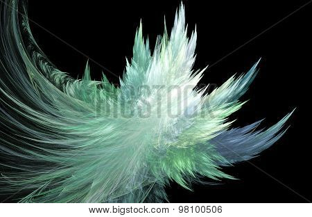 Illustration Fractal Background With Blue Ice Crystals