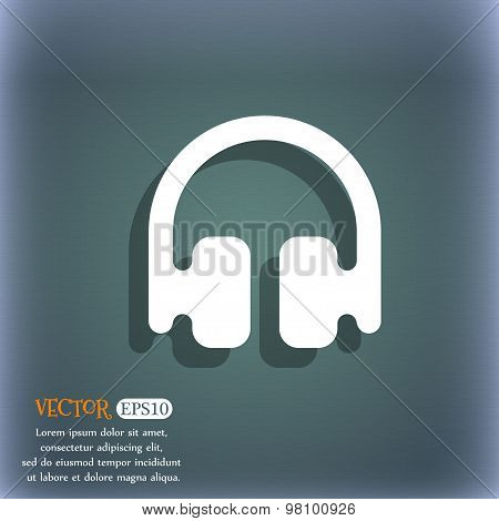 Headphones, Earphones  Icon Symbol On The Blue-green Abstract Background With Shadow And Space For Y