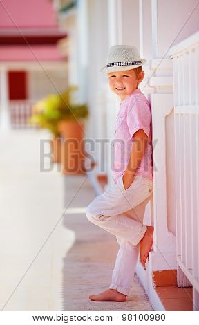 Cute Fashionable Boy, Kid Posing On Summer Street