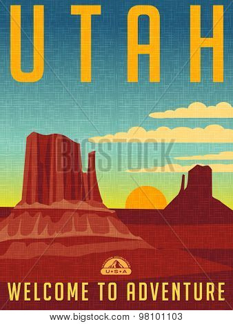 Retro illustrated travel poster for Utah