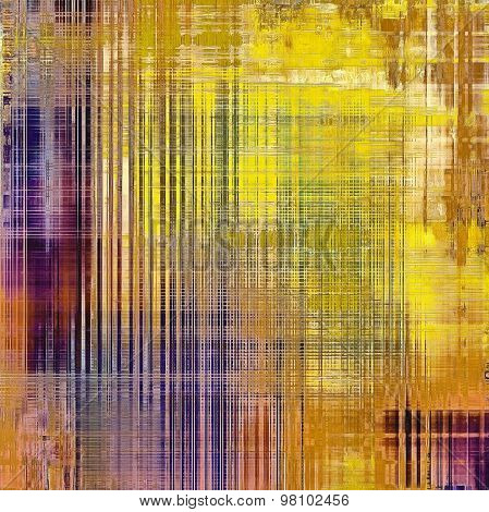 Abstract grunge background with retro design elements and different color patterns: yellow (beige); brown; blue; purple (violet)