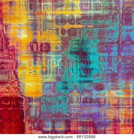 Old grunge background with delicate abstract texture and different color patterns: yellow (beige); blue; purple (violet); red (orange); pink