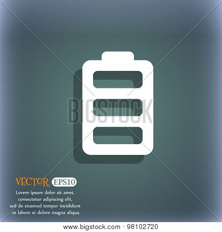 Battery Fully Charged  Icon Symbol On The Blue-green Abstract Background With Shadow And Space For Y