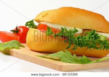 detail of bun sandwich with mozzarella cheese and fresh vegetables on wooden cutting board