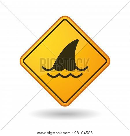 Awareness Sign With  A Shark Fin