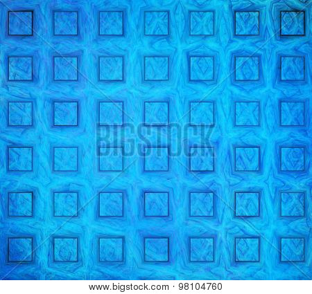 Illustration Abstract Fractal Background With Blue Squares