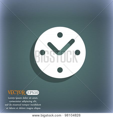 Mechanical Clock  Icon Symbol On The Blue-green Abstract Background With Shadow And Space For Your T