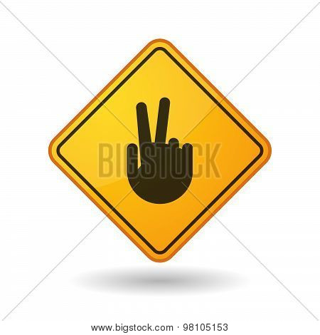 Awareness Sign With  A Victory Hand
