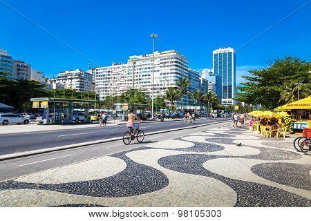 RIO DE JANEIRO, BRAZIL - CIRCA JANUARY 2014: The famous Copacabana sidewalk in Rio de Janeiro, Brazil.