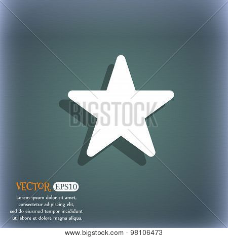 Favorite Star  Icon Symbol On The Blue-green Abstract Background With Shadow And Space For Your Text