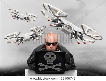 Dangerous terrorist or spy as a drone operator preparing attack on your privacy and life.