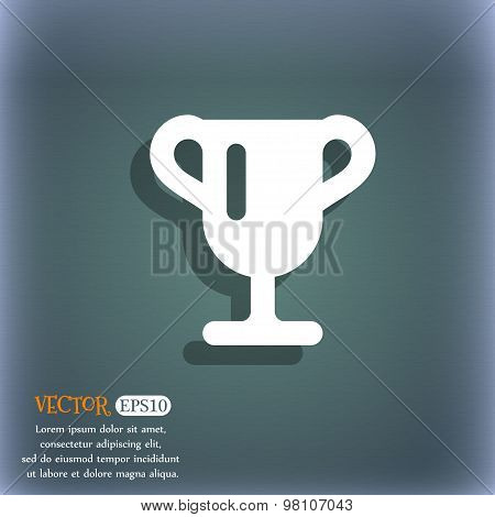 Winner Cup, Awarding Of Winners, Trophy  Icon Symbol On The Blue-green Abstract Background With Shad
