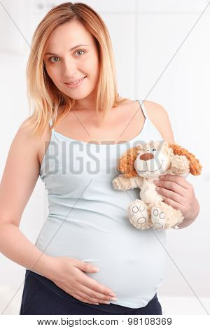 Pregnant woman holding fluffy toy