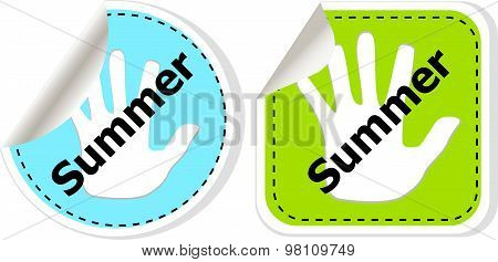 Word Summer Concept On Button. Banner, Web Button Or Message For Online Web Site, Presentation Or Ap