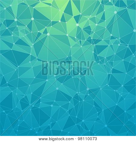 Technological background with a pattern of debris, triangles, highlights, lines and dots. Gradient c