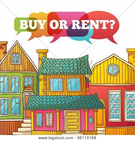 Template design banner or poster of renting and buying homes. Cartoon colored houses. Vector. Place