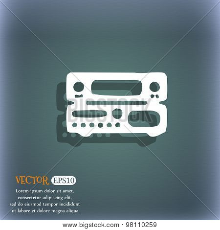 Radio, Receiver, Amplifier Icon Symbol On The Blue-green Abstract Background With Shadow And Space F