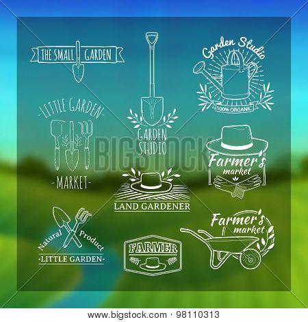 Set of vintage retro logos, badges, badges, labels. Shop garden, farm, organic garden. Blurred backg