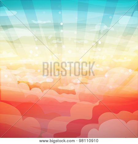 Template banner design, posters. Landscape with clouds, sun, sunset or sunrise. Vector. Place for yo