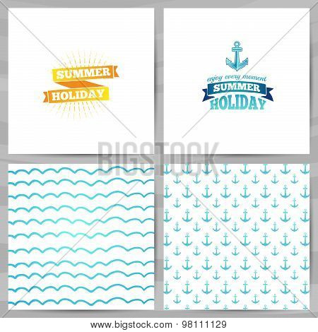 Set of greeting cards, invitations, template design. Summer holidays with an anchor logo and ribbon.