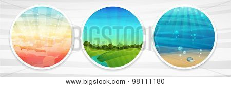 Set of banner template design, posters. Landscape with the sky. The underwater landscape. Landscape