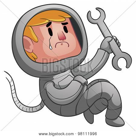 Sad Astronaut Holding A Wrench