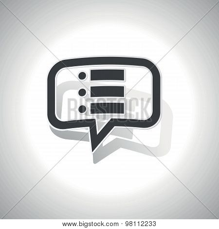 Curved dotted list message icon