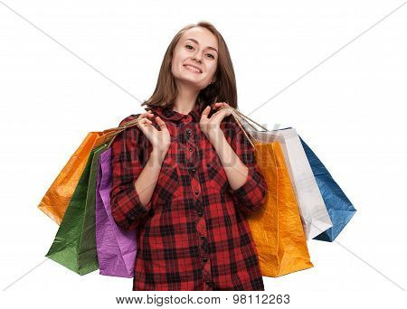Young Woman With Shoping Bags