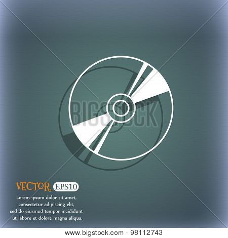 Cd, Dvd, Compact Disk, Blue Ray Icon Symbol On The Blue-green Abstract Background With Shadow And Sp
