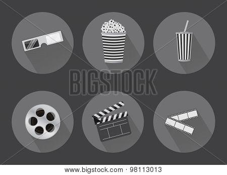 Flat Cinema Icons With Shadows