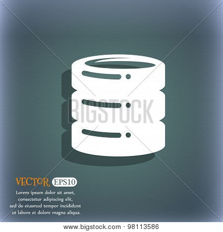 Hard Disk, Date Base Icon Symbol On The Blue-green Abstract Background With Shadow And Space For You