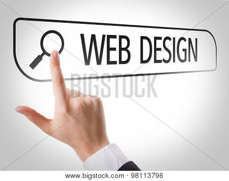 Web Design written in search bar on virtual screen