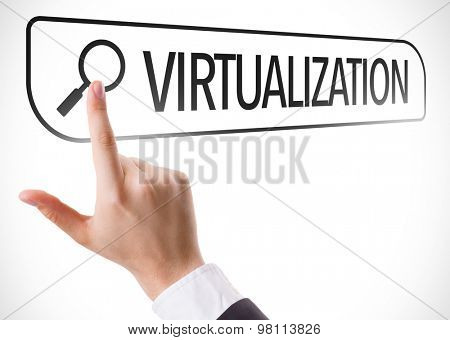 Virtualization written in search bar on virtual screen
