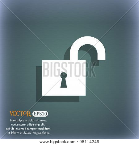 Open Lock Icon Symbol On The Blue-green Abstract Background With Shadow And Space For Your Text. Vec