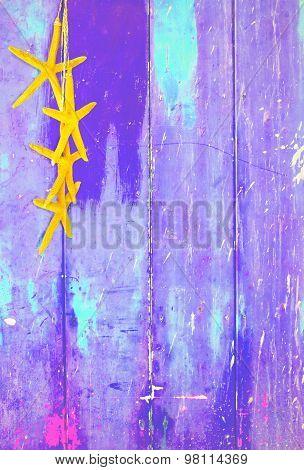 Yellow starfish on purple