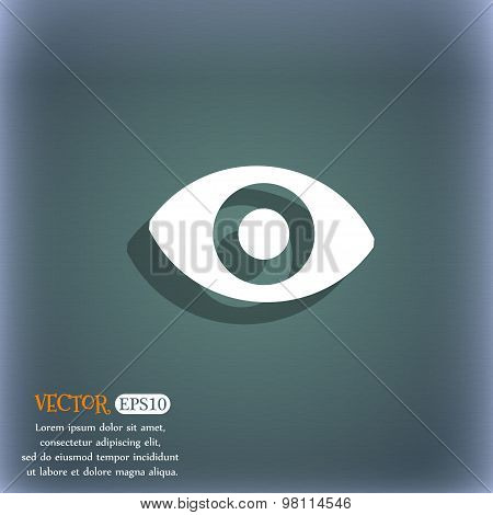 Sixth Sense, The Eye Icon Symbol On The Blue-green Abstract Background With Shadow And Space For You