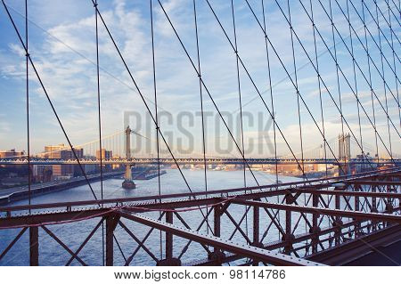 Manhattan Bridge View From Brooklyn Bridge