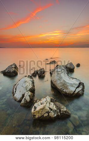 Beautiful sunset over the sea. Dalmatia, Croatia.