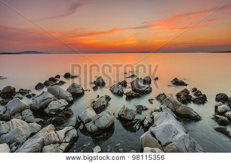 Beautiful sunset over the sea. Dalmatia, Croatia.