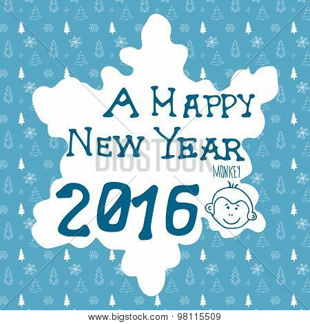 Hand Drawn Sketch Design Of Happy New Year 2016 Greating Card. Doodles With Lettering, On Christmas