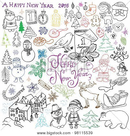 Hand Drawn Sketch Design Of Happy New Year 2016 Doodles With Lettering Set, With Christmas Trees Sno