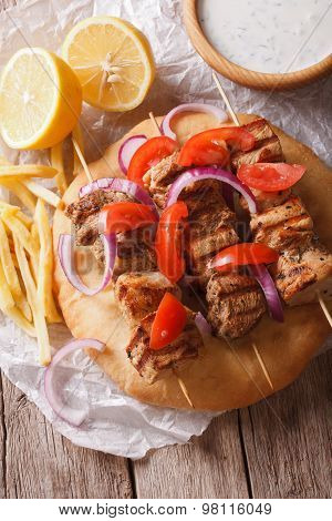 Greek Souvlaki With Pita Close-up. Vertical View From Above