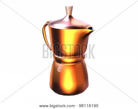 Shiny Coffeemaker Made In Reflective Metal