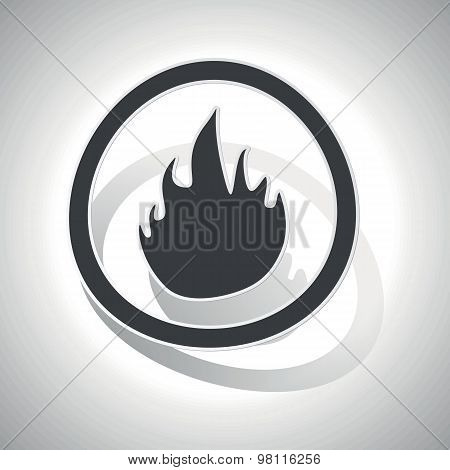 Curved fire sign icon